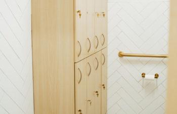 A locker cabinet at Kalos Hair Transplant, LLC